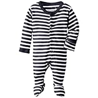 L'ovedbaby Unisex-Baby Organic Cotton Footed Overall, Navy/White, 0/3 Months