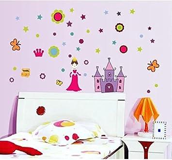 Muurdecoratie Babykamer Meisje.Moderne Muursticker Prinses Met Kasteel Meisjes Kasteel Prinses