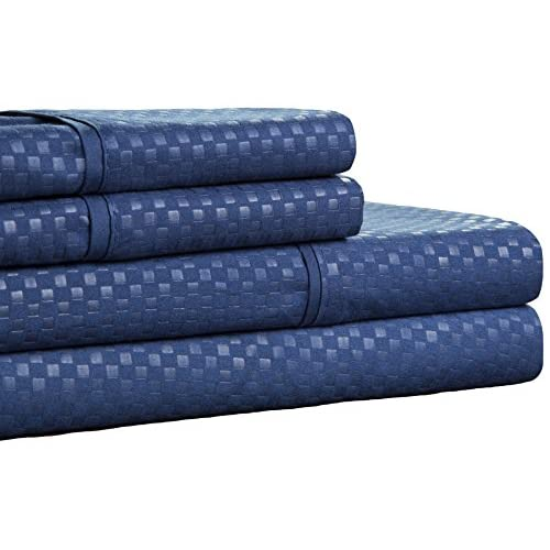Cheap Lavish Home Brushed Microfiber Sheets Set- 4 Piece Hypoallergenic Bed Linens with Deep Pocket Fitted Sheet and Embossed Design by (Navy, Queen) for cheap