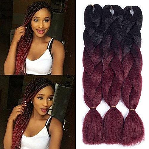 Dingxiu (3Packs,24inch) Ombre Braiding Hair Extensions Afro Jumbo Braids Synthetic Fiber Hair Two Tone Twist Braiding hair 100g/Pack (Burgundy)
