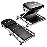 SUNCOO Mechanic Z-Creeper Seat 36'' Rolling Chair 2-In-1 Foldable Garage Shop Tool Auto Car Work Repair