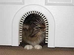 Cat Door - The Original Cathole Interior Pet Door - The Only Cat Door with A Cleaning/Grooming Brush.