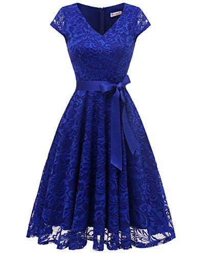 BeryLove Women's Floral Lace Short Bridesmaid Dress Cap Sleeve Cocktail Party Dress BLP7006RoyalBlueM
