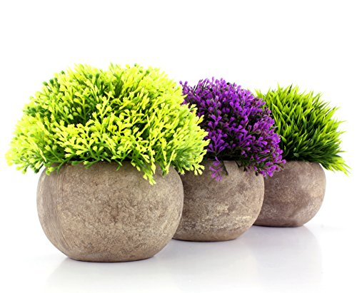 Mini Artificial Topiary Shrubs in Cement Style Pots (Set of 3); Faux Flowers & Plants in Round Grey Potted Arrangement for Decorating (Silk Flower Topiary)