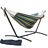Prime Garden 9' Double Hammock with Space Saving Steel Hammock Stand, Elegant Oasis Stripe