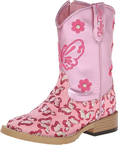 Blazin Roxx Toddler-Girls' Pecos Glitter Zipper Cowgirl Boot Square Toe Pink 7 D(M) (Toddler Girl Cowgirl Boots)