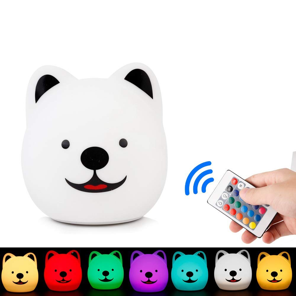 XINGRUI Light USB Charging Warm White + Colorful Light Silicone Cute Dog Patted LED Night Light with Remote Control