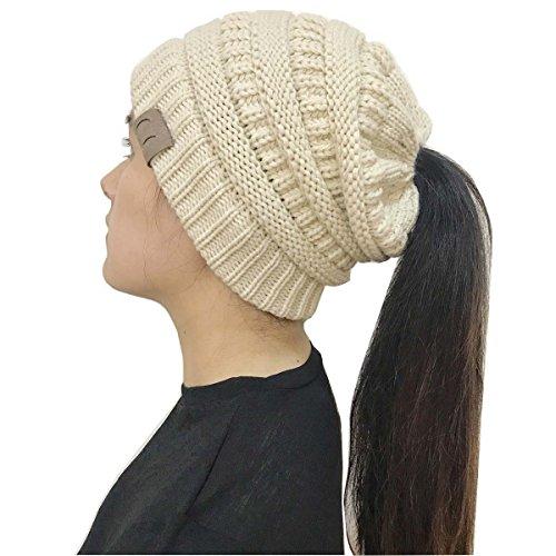 fae66a6726c Galleon - Gagget Women s Winter Knit Cup Beanie Tail Ponytail Winter Warm  Stretch High Bun Knit Hat (Cream-Beige)