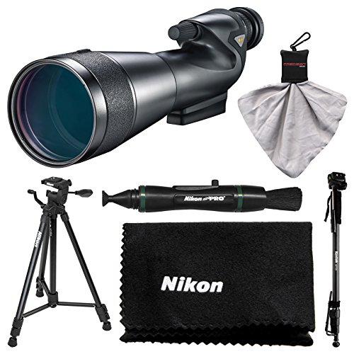 Nikon 20-60x82mm Prostaff 5 Straight Body Fieldscope Spotting Scope with Eyepiece with Tripod + Monopod + Kit by Nikon