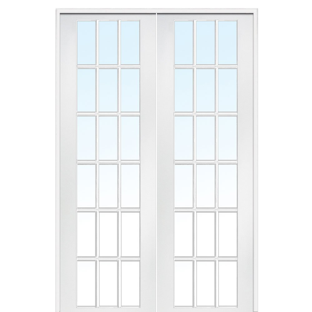 National Door Company Z020035BA Primed MDF 18 Lite Clear Glass, Prehung Interior Double Door, 72'' x 96''