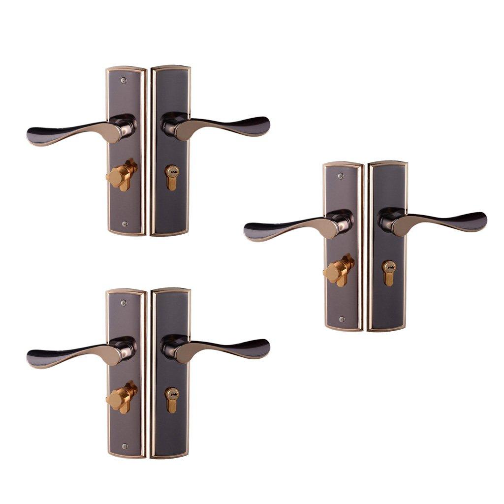 Fityle 3pcs Aluminum Alloy Lever Lock Door Handle Set POLISHED CHROME Lockset Latch Front Back Internal Door Handle Lock