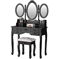 Mecor Vanity Table Set with Oval Mirror Makeup Dressing Table 7 Drawers and Cushioned Stool,Black