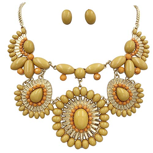 Gypsy Jewels Abstract Bib Statement Boutique Gold Tone Necklace & Earrings Set - Assorted Colors (Mustard Yellow & Orange)