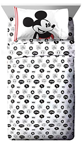 Mickey Mouse Sheets Clubhouse (Disney Mickey Mouse Jersey White 3 Piece Twin Sheet Set)