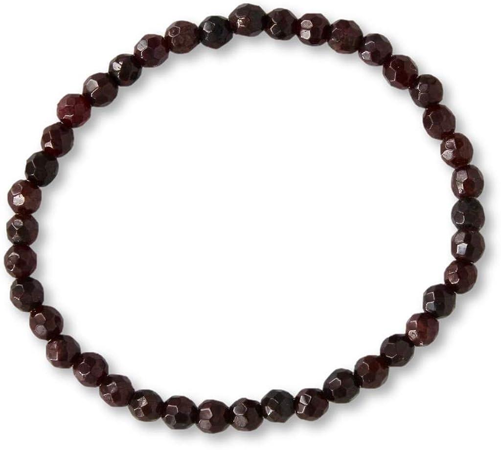 Taddart Minerals – Pulsera marrón de piedra preciosa natural granate con bolas facetadas de 4 mm en hilo elástico de nailon – hecha a mano