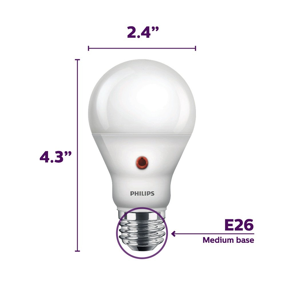 Philips Led Dusk To Dawn A19 Frosted Light Bulb 800 Lumen 2700 Schematic Diagram Of An Electric Below The First Kelvin 8 Watt 60 Equivalent E26 Medium Screw Base Soft White 3 Pack Amazon