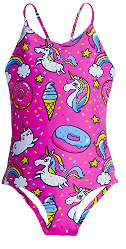 AIDEAONE Kid Girls One Piece Swimsuit Rainbow Cat Bathing Suits Funny Donut Ice Cream Swimwear for 3-4 Years -