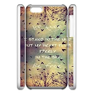 Durable Phone Case 3D iphone5c 3D Cell Phone Case White Saiwr Be Free Birds Cute Quote Plastic Durable Cover