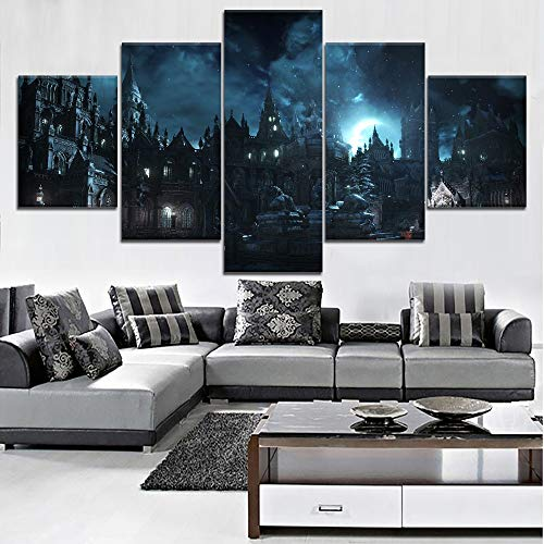 kkxdp Framed Wall Art Modular Canvas 5 Pieces Harry Potter School Castle Movie Pictures Home Decor Painting Prints Poster Living Room Frame-B