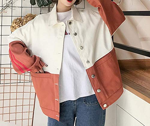 DEED Donne primavera e autunno cappotto college vento tendenza cartoon trolley studente giacca da baseball donne,rosso,M