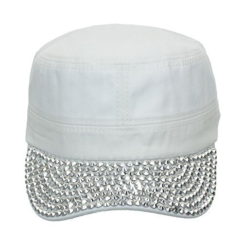 Women's Jewel Visor Bling Military Style Cadet Cap One Size white
