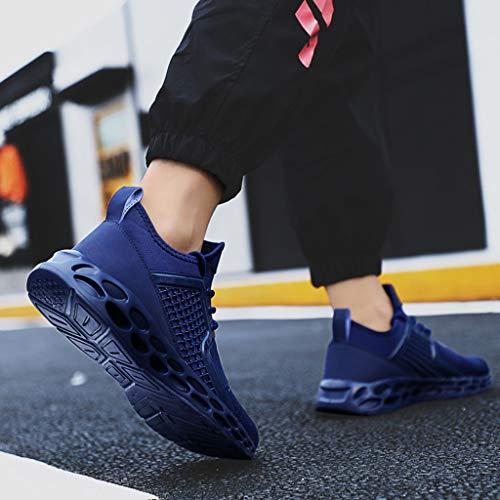 Haute Chaussures Bas À Casual Bleu Hommes Lacets Douces Course Tissés Grande De Taille Élastique Creux Moonuy Baskets 01tIqwxx