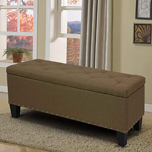 Magshion Rectangular Storage Ottoman Bench Tufted Footrest Lift Top Pouffe Ottoman, Coffee Table, Seat, Foot Rest, and More (42