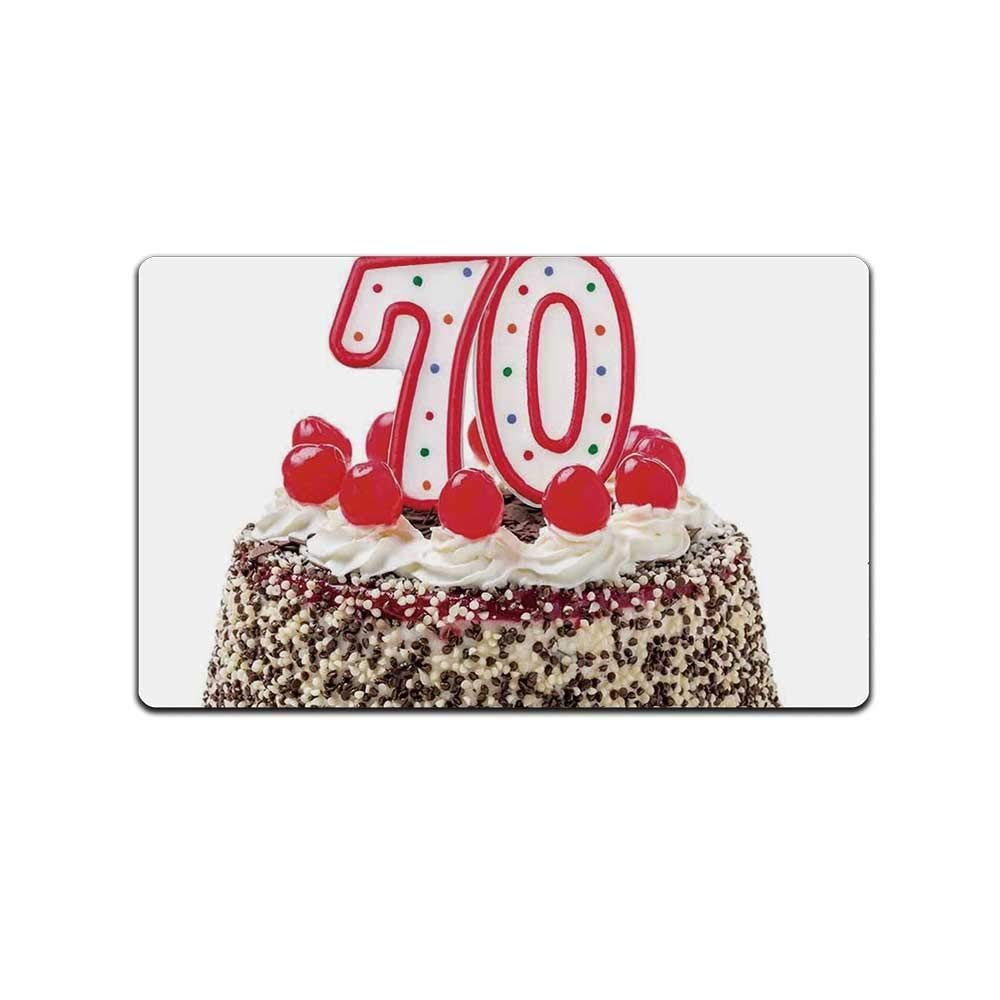 YOLIYANA 70th Birthday Decorations Practical Doormat,Birthday Cake with 70 Number Candles Sprinkles Party Photo Image for Home Office,31'' Lx19 W