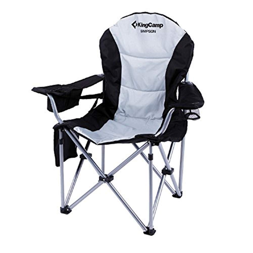 KingCamp Camping Chair Heavy Duty Lumbar Back Support Oversized Quad Arm Chair Padded Folding Deluxe with Cooler Armrest Cup Holder, Supports 350 lbs by KingCamp