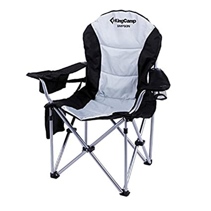 Incredible Kingcamp Camping Chair Heavy Duty Lumbar Back Support Oversized Quad Arm Chair Padded Folding Deluxe With Cooler Armrest Cup Holder Supports 350 Lbs Creativecarmelina Interior Chair Design Creativecarmelinacom