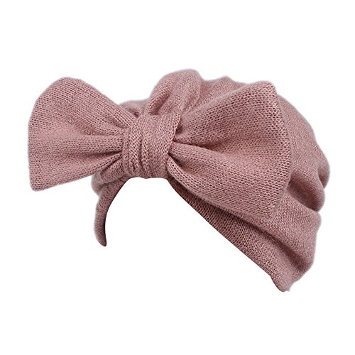 (Barlingrock Bow Knot Head Wrap,Cute Boho Knitting Hat Beanie Hat for Children Baby Kids Girls Hair Accessories (1PC) (Pink))