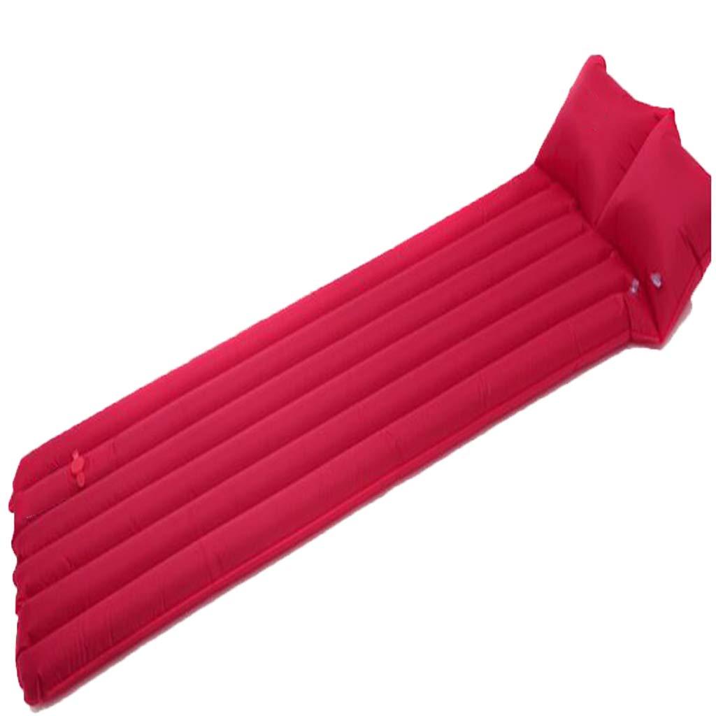 LYLLB-Air bed AußEnluftbett Automatische Aufblasbare Kissen Feuchtigkeit Pad Einzelne Schlafkissen Feuchtigkeit Pad Amphibische Dual-Use Kissen Horizontale Streifen NäHte Design Rot 180 X 47 cm