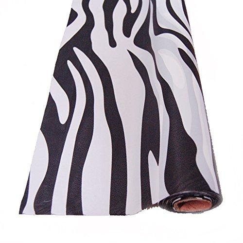 FIREFLY Zebra Stripe Print Plastic Table Overlay, 40-inch x 100-ft -