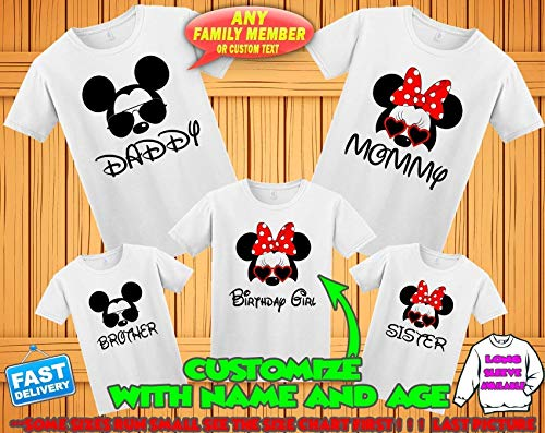 Disney family matching custom t-shirts, Family vacation disney shirts,Mickey Minnie mouse Personalized shirt, Personalized Disney Shirts for Family]()