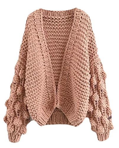 Cruiize Womens Solid Cable Knit Open Front Outwear Sweater Cardigan Khaki (Blend Knit Cardigan)
