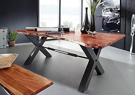 Tavolo da Pranzo 180 x 100 cm - Ferro e Legno Massiccio di Acacia ...