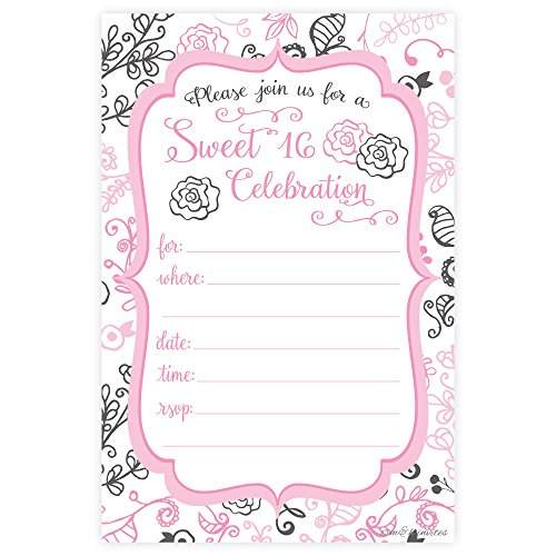 Sweet 16 Birthday Party Invitations - Fill In Style (20 Count) With Envelopes
