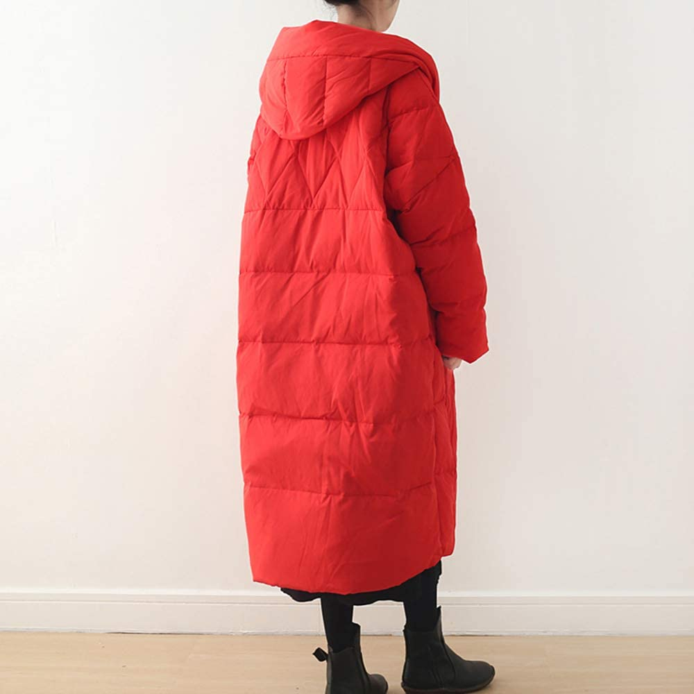 Down jacket Winter Cloak styling Women's loose mid-length simple solid white duck Warm and breathable Soft and lightweight Full size Red and white Red Color