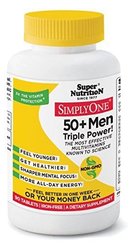 SimplyOne Multivitamin for Men 50+, Iron Free, Daily All-In-One Vitamin by SuperNutrition, 90 Day Supply; Best Value ()