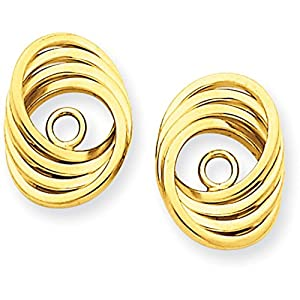 """14k Gold Polished Love Knot Jackets for Stud Earrings (0.51"""" Height)"""