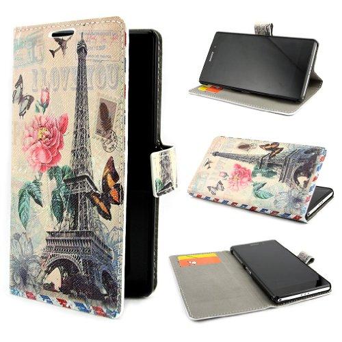 "ivencase Scenic Design PU Leather Flip Skin Case Cover For Sony Xperia Z2 + One ""ivencase "" Anti-dust Plug Stopper"