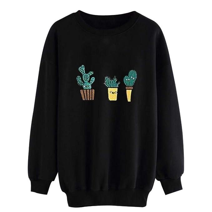 Sudaderas Mujer Otoño Invierno Elegantes Manga Largo Cuello Redondo Cactus Impresión Mode De Marca Casual Sudadera Joven Jumper Niña Pullover Camisas Tops: ...
