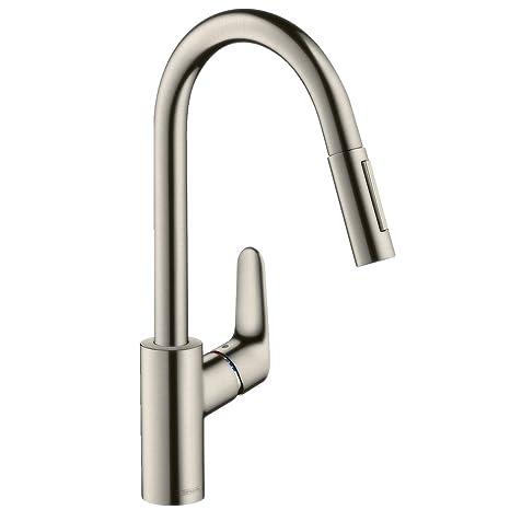 Hansgrohe 31815800 Focus grifo de cocina con ducha extraíble, acero inoxidable