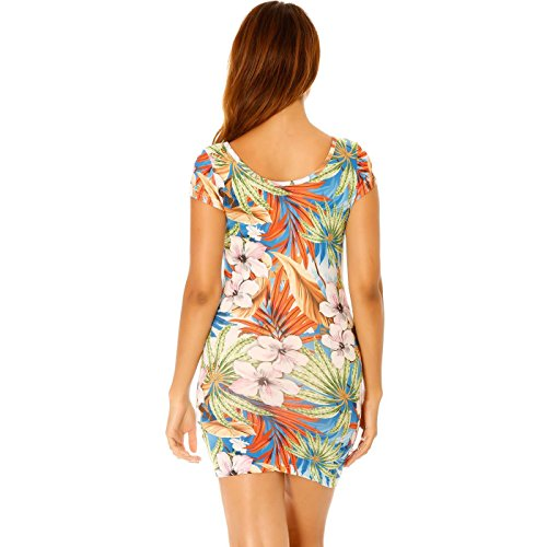 Miss Wear Line - Robe orange courte à strass et motif fleur tropical