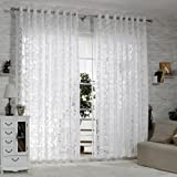 """R.LANG Solid Grommet Top Modern Embroidered sheer Curtain 1 Pair Bleach White 66""""W X 72"""" L"""