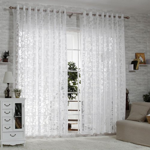 R.LANG Solid Grommet Top Modern Embroidered sheer Curtain 1 Pair Bleach White 46″W X 72″ L