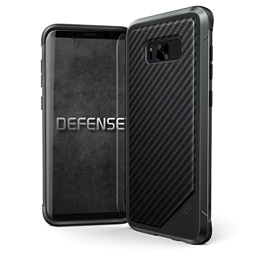 Samsung Galaxy S8+ Case, X-Doria Defense Lux - Military Grade Drop Tested, Anodized Aluminum, TPU, and Polycarbonate Protective Case for Galaxy S8+, [Black Carbon - Box Tile Rosewood
