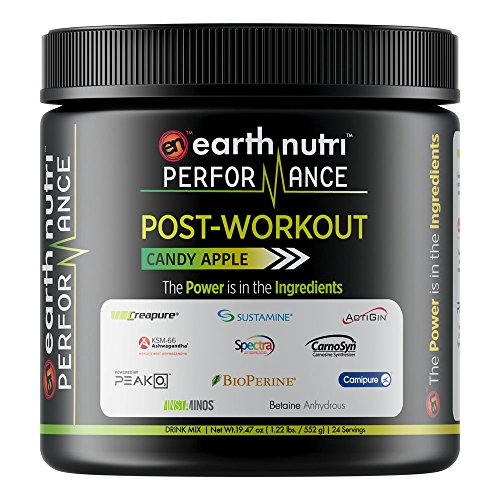 EarthNutri Performance Post-Workout Supplement with BCAAs, L-Alanyl-L-Glutamine, Creatine, Beta Alanine, L-Citrulline, Betaine Anhydrous, Organic PeakO2, Organic Ashwagandha (Candy Apple)