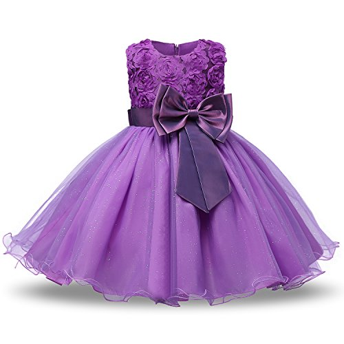 NNJXD Girl Sleeveless Lace 3D Flower Tutu Holiday Princess Dresses Size 1-1.5 Years Purple