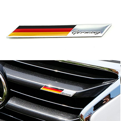 iJDMTOY Aluminum Plate Germany Flag Emblem Badge For Germany Car Front Grille, Side Fenders, Trunk, Dashboard Steering Wheel, etc (Flag Emblem Badge)